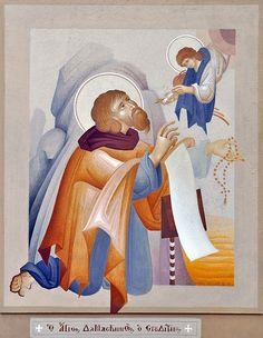 Contemporary Byzantine Painting: An Interview With Fikos Byzantine Icons, Byzantine Art, Greek Art, Sky Art, Orthodox Icons, I Icon, Christian Art, Religious Art, Art Forms
