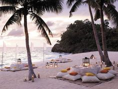 Destination Wedding - Stylish Wedding Beach Party With Couches ...