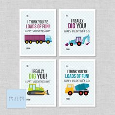 printable Valentine's Day cards - construction vehicles  .  kids' truck valentines  .  classroom valentines  .  instant download by phillipsstreet on Etsy