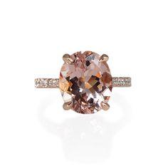 Serena Custom Morganite and Diamond Engagement Ring In Rose Gold. #morganitering #engagementring #rosegold #rosegoldengagementring