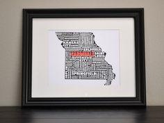 MISSOURI St. Louis CARDINALS Cities Collage Print