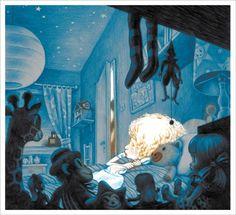 "David Polonsky Illustration ""Moonless Night"" Written by Shira Geffen and Etgar Keret, 1988."