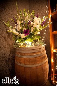 can't get enough of using wine barrels for the decor!