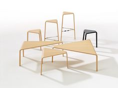 arper: aava chair + ply low tables and stools