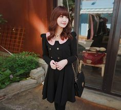 NEW Sweet Women'S Girl Long Sleeve Doll Collar Splicing Color Dress Fashion C1MY | eBay