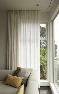 Corner Window Curtain Rods Modern Curtains On Recessed Track Modern Window Treatments Corner Window Curtain Rods Home Depot Curtains Living, Modern Curtains, Living Room Windows, White Curtains, Curtains With Blinds, Custom Curtains, Curtains 2018, Contemporary Curtains, Bedroom Windows