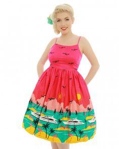 'Marlene' Hot Pink Yacht Print Swing Dress