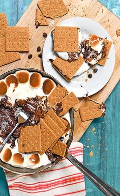 Skillet S'mores (dip into with graham crackers) ...because this would be fun to make over a bonfire in the summer!
