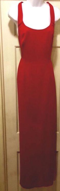 CACHE Long Red Sleeveless Sheath; Evening Social Ballroom Gown ,T StrapBack, 12  | eBay