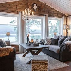 Discover recipes, home ideas, style inspiration and other ideas to try. Cottage Living, My Living Room, Home And Living, Modern Log Cabins, Piece A Vivre, Cabin Interiors, Cabins And Cottages, Log Homes, Family Room