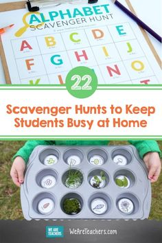 22 Scavenger Hunts to Keep Students Busy at Home. Kids will have a blast digging up all kinds of things around the house and yard with these creative scavenger hunts that are fun for all ages. Water Games For Kids, Indoor Activities For Kids, Family Activities, Outdoor Activities, Alphabet Activities, Toddler Activities, Scavenger Hunt For Kids, Scavenger Hunts, Summer Fun List