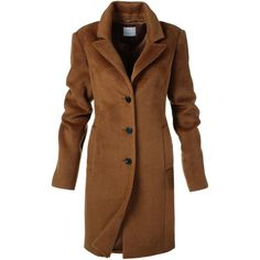 Short coat, Suri alpaca wool (4,610 CNY) ❤ liked on Polyvore featuring outerwear, coats, brown coat, slim coat, short coat, slim fit coat and alpaca coat