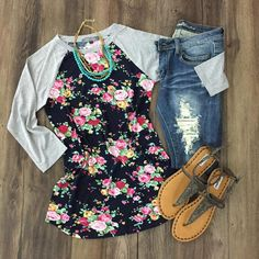 Heather Gray Floral Raglan Tee  | Floral Baseball Sleeve Tee | Navy Floral | Heather Gray | Distressed Jeans | Sandals | Summer Outfit | Spring Outfit | 2017 | What to Wear | Outfit Ideas | Stitch Fix Inspiration | Similar to Lularoe Randy | Raglan Tee | Floral | Mint | Fuchsia |