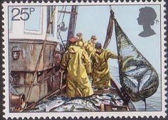Fishing 25p Stamp (1981) Hoisting Seine Net