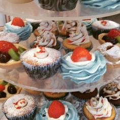 Deserts tower meringue chiffon cupcakes fruit tarts choux buns and fairy cakes