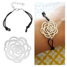 Bracelet DIY facile à personnaliser avec nos nouveautés à découvrirsur notre site CréaPause.fr https://creapause.fr/pendentif-creation-bijoux/8589-connecteur-fleur-metal-3700909221243.html