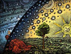Giordano Bruno (1548-1600) acreditava em um universo povoado por uma infinidade de estrelas e outros planetas com vida inteligente, a partir das ideias de Nicolau da Cusa, Copérnico e Giovanni Battista della Porta, além de um sonho em que viu a Terra não mais como o centro, mas parte de um universo infinito. Bruno era hilozoísta (pensava que tudo tem vida) e panpsiquista (pensava que tudo tem uma alma). Figura: autor desconhecido, apresentada em um livro de Camille Flammarion de 1888.
