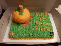 Coolest Pumpkin/Fall Cake... This website is the Pinterest of birthday cake ideas