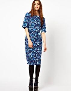 ASOS Shift Dress In Blue Floral Print