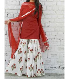 Something in cotton and for daily wear. **Marsala Block Print Sharara Set – Alaya The Storehouse** Dress Indian Style, Indian Fashion Dresses, Indian Designer Outfits, Indian Outfits, Designer Dresses, Fashion Outfits, Ethnic Fashion, Sharara Designs, Kurti Designs Party Wear