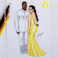 Kanye West e Kim Kardashian.  Inspiração: Snapchat  #kanyewest #KimKardashian #Snapchat #WillMatos #Willianmatos #Willianmatosilustrador #fabercastell #croquidemoda #croquis #estilismo #fashiondesigner #illustrations #Cicerodantas #Bahia #Brasil #artes #desenhos #realismo #moda #ilustracoesdemoda