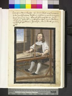 Amb. 317b.2° Folio 163 recto 1675 Seitz sits at his loom, and with her left the shuttle, while the right uses the charge