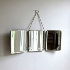 Folding Travel Mirror for Hanging with Nickel Plated Brass Frame, c. 1900