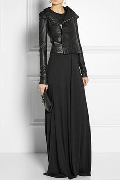 black out, from the maxi dress to the leather jacket.                                                                                                                                                                                 More