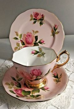 ROYAL ALBERT TRIO-ENGLISH BEAUTY PATTEN-SHABBY PINK ROSES in Pottery, Glass, Pottery, Porcelain, Royal Albert | eBay!