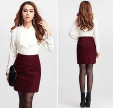Autumn Winter Women Wool Thick Mini Tight Pencil Skirt Business Casual Black/Wine Package Hip Joker Plus Size S M L XL XXL 3XL(China (Mainland))