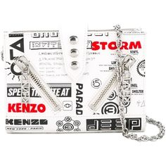 Kenzo - Kalifornia flyers print chain wallet - women - Cotton/Calf... ($485) ❤ liked on Polyvore featuring bags, wallets, white, cotton bags, chain shoulder bag, calfskin wallet, nylon wallet and white wallet