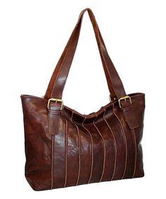 06ec9c59eb4f Nino Bossi Handbags Chocolate Rose Bud Leather Tote