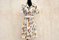 Vintage 70s Diolen Loft Dress Crimplene Summer Color Full Midi Made in France White Yellow Blue Orange Shoulder Pads Boho Hippie Medium Size by VintageSuggestion on Etsy https://www.etsy.com/listing/258606110/vintage-70s-diolen-loft-dress-crimplene