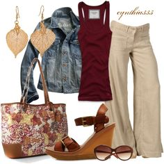 Khaki linen, burgundy tank, denim jacket, wedge I LOVE the pants and bag!!!!