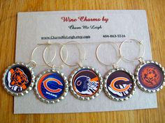 Chicago Bears inspired wine glass charms for the wine lover in your life.... customize