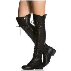 Women's Over the Knee Lace Up Riding Faux Leather Thigh High Combat... ($40) ❤ liked on Polyvore featuring shoes, boots, black, boots & booties, faux leather over the knee boots, black military boots, black army boots, thigh high combat boots and black lace up boots