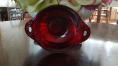 Vintage Royal Anchor Hocking Red Ruby, Saxon pattern, Bowl With Handles