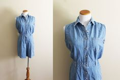 dc170c051ee3c vintage romper denim jean jumpsuit summer 1990s womens clothing minimalist  sleeveless size medium m 12