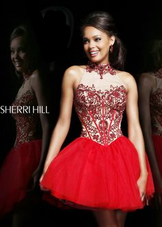 Sherri Hill 21225 - Red/Nude Beaded High Neck Short Prom Dresses Online #thepromdresses #promidea #promhairstyles #promnails #prommakeup prom dress prom nails prom hair prom idea prom makeup