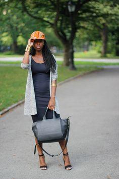 african print baseball cap H&M black dress zara heels