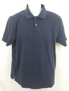 Tasso Elba Short Sleeve Mens Blue 100% Supima Cotton Medium Solid Polo Shirt #TassoElba #PoloRugby
