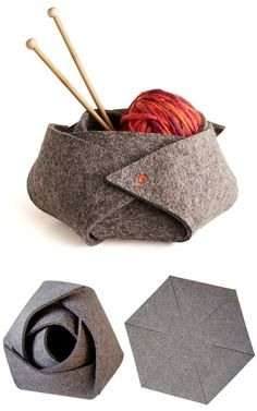 rose-shaped fabric box from a hexagon
