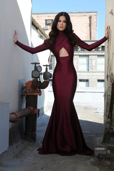 Sexy Burgundy High Collar Mermaid Prom Dresses 2018 Long Sleeves Backless Evening Gowns_Prom Dresses_Special Occasion Dresses_Buy High Quality Dresses from Dress Factory Backless Evening Gowns, Prom Dresses Long With Sleeves, Backless Prom Dresses, Mermaid Evening Dresses, Dress Prom, Long Dresses, Dress Wedding, Sexy Dresses, Open Back Prom Dresses