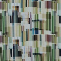 Italian Green Abstract Tiled Cotton Voile