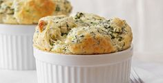 Asiago, Artichoke Spinach Souffl Try this rich-tasting cheese, artichoke and spinach souffle recipe for your next brunch. Gruyere Cheese, Goat Cheese, Spinach Souffle, Spinach Bake, Spinach Dip, Souffle Recipes, Cheese Tasting, Vegetarian, Gourmet