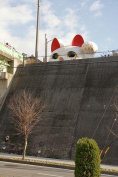 Tokoname Manekineko-dori, Tokoname, Aichi prefecture, Japan, cat size 3.2 m; H, 6.3 m: W