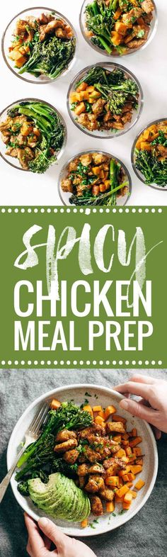 Spicy Chicken and Sweet Potato Meal Prep Magic! 3 big sheet pans + 45 minutes = healthy meals for a week! | http://pinchofyum.com