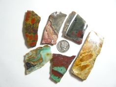 6 small rough slabs, natural stones, Peruvian opal, Crazy Lace, Poppy Jasper, etc. (rs12171)