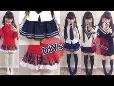 DIY Daily Anime Japanese School Uniforms for Beginners: DIY Navy Skirt+Plaid Skirt+School Outfits - YouTube