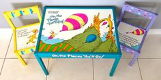 Dr Seuss' Play Table and 2 Chairs Oh the Places by PaintedbyLinda, $200.00